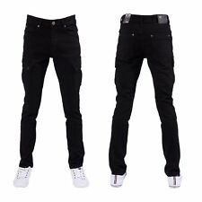 Seven Series Designer New Mens Skinny Fit Black Combat Stretch Denim Jeans Pants