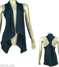 Teal Blue Racerback Asymmetrical Drape Bolero/Shrug/Cardigan Plus Cover-Up Vest