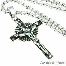 Men's Rocker 316L Stainless Steel Crucifix Cross Pendant Necklace Chain P2V79