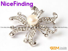 Hot Charming Brooch Pin Crystal Freshwater Pearl White Gold Plated Women Jewelry