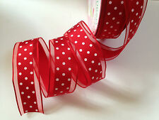 RETRO Red & White Polka Dot sheer cake decor 38mm - Luxury Wire Edged Ribbon NEW