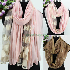 Women Embroidery Floral Mesh Sheer/Flower Sequin Long Shawl/Infinity Loop Scarf