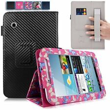 For Samsung Galaxy Tab 2 7 Inch P3100 Hand Strap PU Leather Card Slot Stand Case