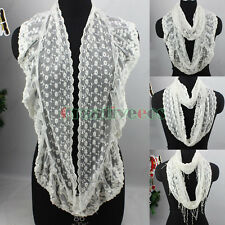 Fashion Women's Floral Mesh Splicing Infinity Loop Cowl Eternity Scarf New