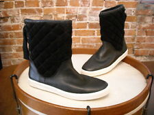 Isaac Mizrahi Alma Black Leather Quilted Ribbon Detail Sneaker Boot NEW