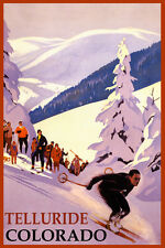 SKI TELLURIDE COLORADO MOUNTAINS SKIING WINTER SPORT TRAVEL VINTAGE POSTER REPRO