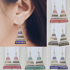 NT Vintage Women National Style Metal Triangle Dangle Earrings Hook Jewelry Hot