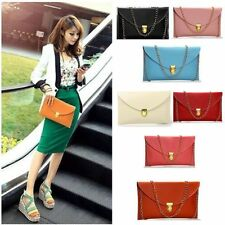 New Womens Pu Leather Chain Envelope Clutch Tote Handbag Shoulder Bag Purse SG