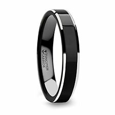 Black Polish Finished Center Tungsten Carbide Ring with Metallic Beveled Edges