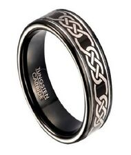 Two Tone 8mm Comfort Fit Men's Black Tungsten Ring with Celtic Knot Design and