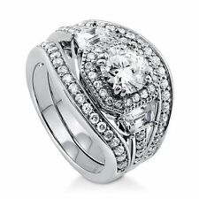 Sterling Silver Round Cubic Zirconia CZ Halo Engagement Wedding Stackable Ring