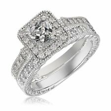 Sterling Silver Engagement Wedding Ring Set Princess Cut Cubic Zirconia CZ 1.1