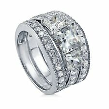 Sterling Silver Princess Cubic Zirconia CZ 3 Stone Engagement Wedding Stackable