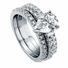 Sterling Silver Pear Cubic Zirconia CZ Solitaire Engagement Wedding Stackable R
