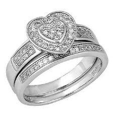 Sterling Silver Pave Set Cz Ring Set with a Heart Shape Design Pave Set Cz in t