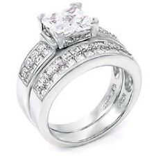 Sterling Silver Cz Wedding Ring Set with an Invisible Princess Cut Cz in the Ce