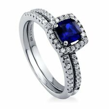 Sterling Silver Cushion Simulated Blue Sapphire Cubic Zirconia CZ Halo Engageme