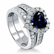 Sterling Silver Simulated Blue Sapphire Cubic Zirconia CZ Heart Halo Engagement