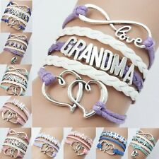 Silver Nana Grandma Leather Braided Infinity Charm Bracelet Friendship Bangle