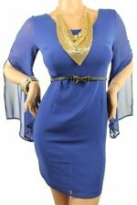 121AVENUE Classy Criss Cross Chiffon Dress S Small Women Blue Career