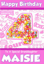 SO CUTE 'LITTLE SWEETIE' PERSONALISED BIRTHDAY CARDS ANY NAME/AGE 1-6 /RELATION!