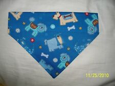 Over Collar REVERSIBLE Bandana~Dog Bone Paw Print Motif