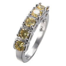 Yellow Zircon 4MM CZ Band Women's 10K White Gold Filled Christmas Ring Size 6-10