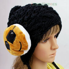 Fashion Women's Cute Face Winter Ski Cap Knit Warm Hat Cap Baggy Beanies PomPom