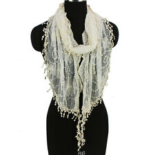 Women's Embroidery Vines Flowers Tulle Lace Mesh Tassel Solid Color Long Scarf