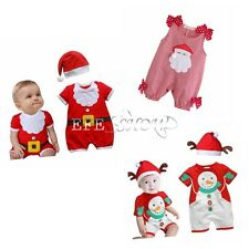 Baby Boy Girl Kids Newborn Christmas Romper+Hat Bodysuit Outfit Clothes XMAS Set