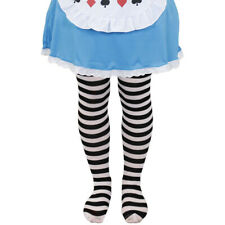 CHILDS BLACK AND WHITE STRIPED TIGHTS GIRLS FANCY DRESS FOR ALICE COSTUME