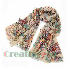 Fashion Women's Vintage Totem Floral National Style Tassel Long Scarf Shawl Wrap
