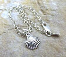 Sterling Silver Mini Scallop Shell Charm on  Sterling 3mm Rolo Bracelet - 0778