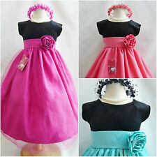 Black velvet red wine fuchsia coral mint purple gold flower girl christmas dress