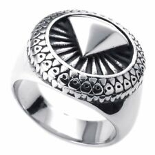 Mens Silver Unique Trendy Stainless Steel Ring Free Shipping USA Size 7-13