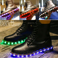 Fashion men/women Light Up Ankle Boot Leather USB LED Light Shoes Casual Sneaker