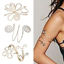 Vtg Fashion Punk Swirl Upper Arm Cuff Armlet Armband Bangle Bracelet Gift Gold
