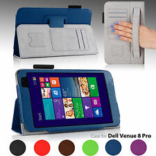 For Dell Venue 8 Pro PU Leather Folio Stand Case Cover w/ Hand Strap NEW