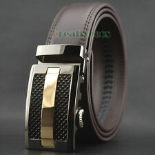 New Fashion Men's Dress Luxury Genuine Leather Waist Strap Belt Auto Lock Buckle