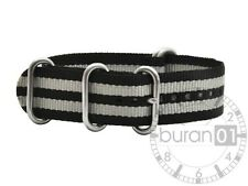 Wrist watch bands Zulu Watch-bracelet Nylon Military-black with grey Striped