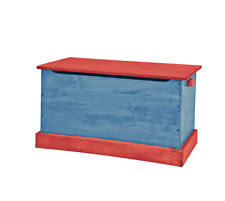 WOOD TOY BOX Blue & Red Amish Handmade Storage Chest in Small Medium & Large USA