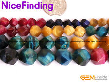 Wholesale Faceted Tiger Eye Gemstone Beads For Jewelry Making 15''Color Assorted