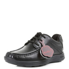 Boys Kids Kickers Reasan Lace Junior Leather Black School Shoes Size