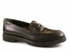 Car Shoe women's penny loafers shoes in black Leather and mimetic fur