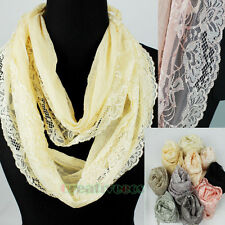 Fashion Women's Floral Lace Thin Long Scarf Lace Trim Shawl Tassel Retro Wrap