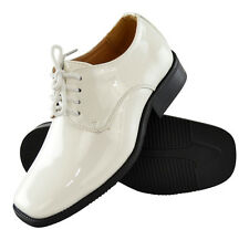 Boys Toddler Youth Lace Up Oxfords Patent Leather Dress Shoes White Black Patent