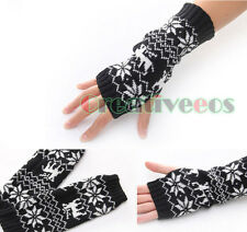 Man's Women's Knit Fingerless Couples Gloves Arm Warmers Snowflake Long Gloves