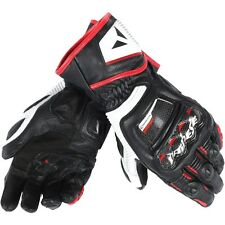 Dainese Druid D1 Long Mens Leather Motorcycle Gloves  Black/White/Lava Red
