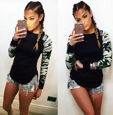 2016 Ladies Womens Printed T Shirt camouflage Long Sleeve Blouse Casual Tops