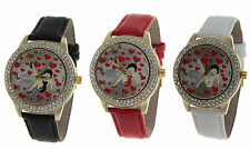 BETTY BOOP Authentic Round Face 3 Row Crystal Bezel Leather Band Watch